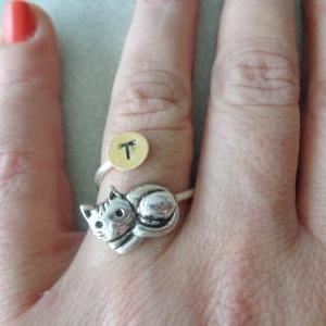 cat ring, personalized ring..