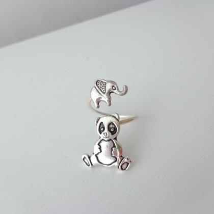 Elephant panda ring, adjustable rin..