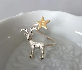 Silver Reindeer Ring, personalized initial ring, christmas ring, adjustable ring, animal ring