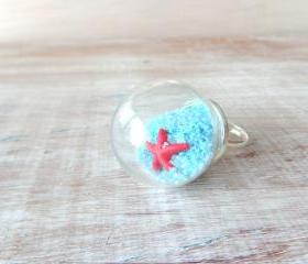 Glass globe dome nautical ring, starfish jewelry