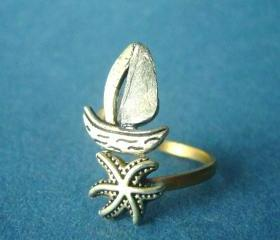 silver ship and shell wrap ring