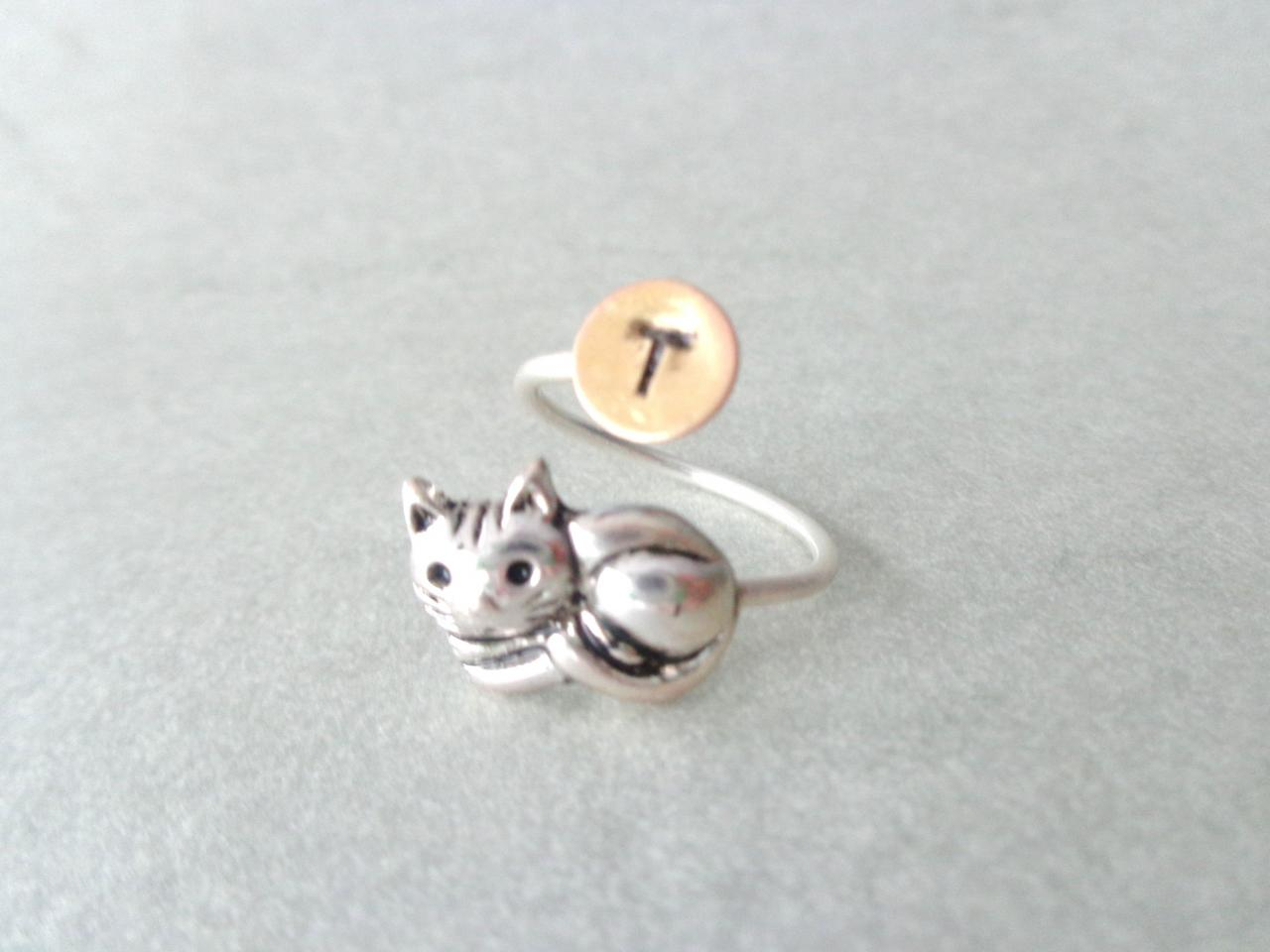 cat ring, personalized ring, adjustable ring, animal ring, initials ring