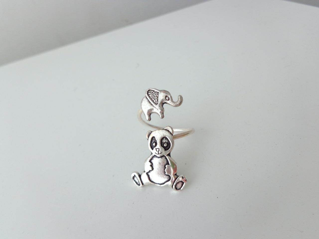 Elephant panda ring, adjustable ring