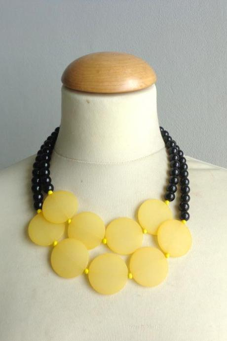 chunky yellow black necklace, double strand necklace, yellow necklace
