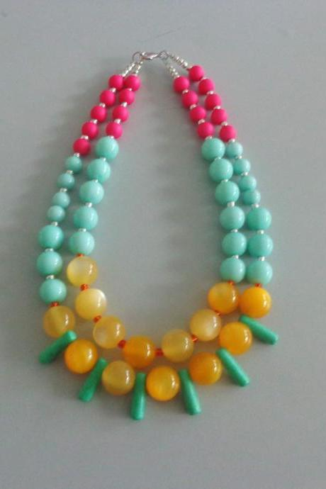 Handmade Mint Green and Yellow Acrylic, Ceramic and Glass Bead Necklace