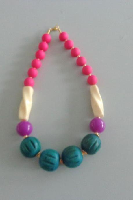 Candy chunky necklace. colorful necklace, pink teal ivory necklace
