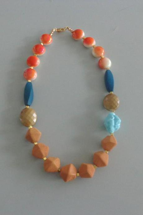Candy chunky necklace. colorful necklace, orange necklace, orange blue turquoise brown necklace