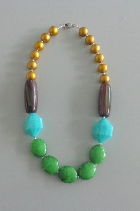 Candy chunky necklace. colorful necklace, green gold turquoise necklace