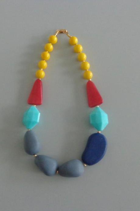 Candy chunky necklace. colorful necklace, yellow turquoise grey blue red necklace