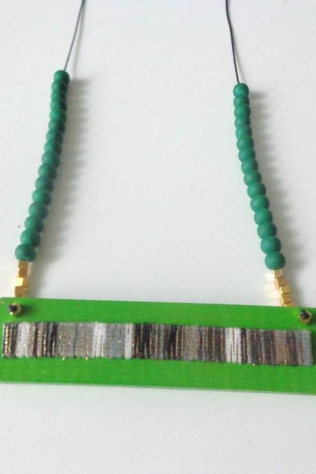 Green necklace, bar necklace, green long necklace, wood necklace