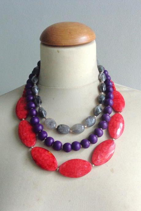 Blue grey red necklace, chunky necklace, statement necklace