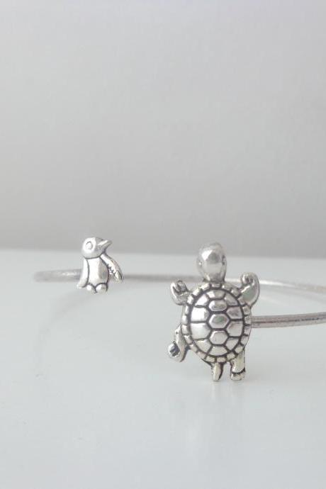 turtle cuff bracelet with a penguin wrap style, animal bracelet, charm bracelet, bangle