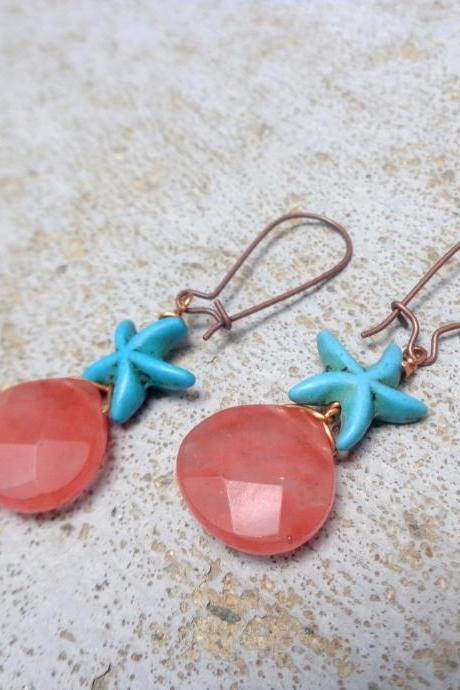 Pink quartz starshell turquoise nautical earrings