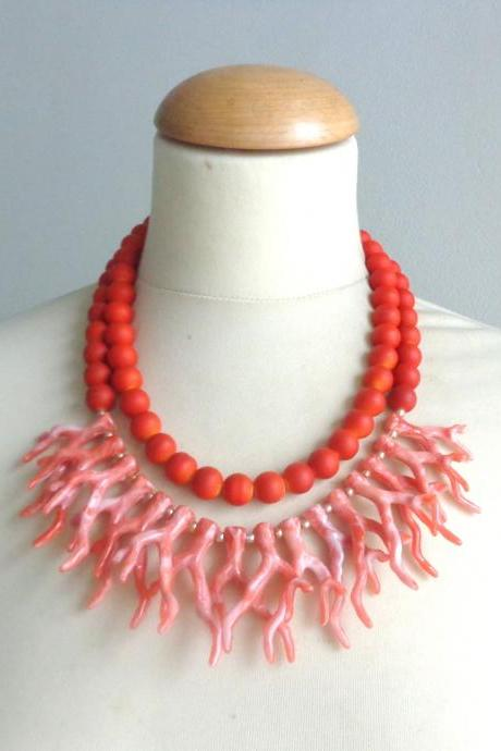 Orange coral branch necklace, coral branch statement