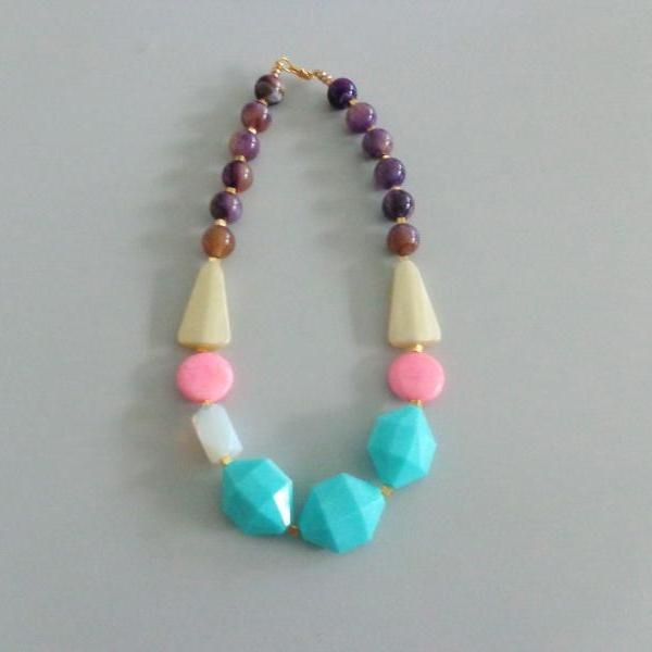 Candy chunky necklace. colorful necklace, turquoise white pink purple yellow necklace