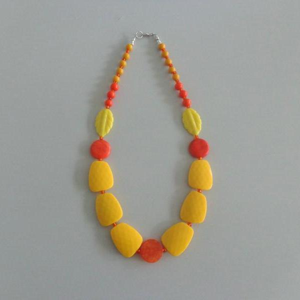 Candy chunky necklace. colorful necklace, yellow necklace, orange yellow necklace