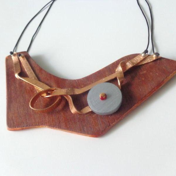 Art necklace, metal wood necklace, silver wood necklace
