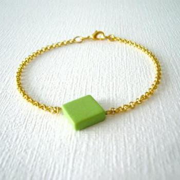 Geometric rhombus green bracelet, minimal style, gold dainty friendship jewelry