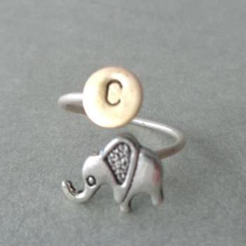 silver elephant personalized initials ring, adjustable ring, animal ring