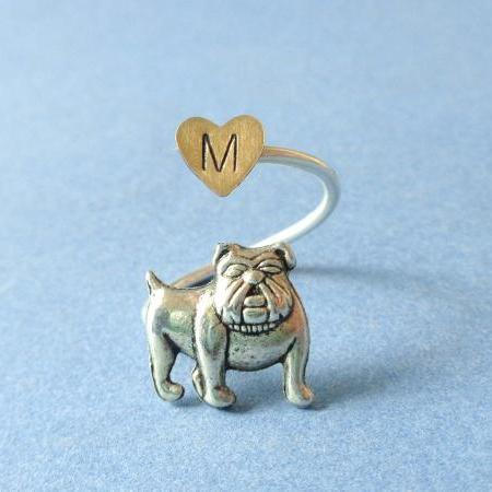 Personalized Dog ring wrap style, adjustable heart