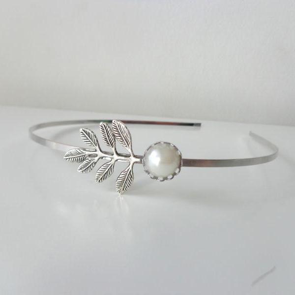 Silver pearl flower metal headband hair accessory