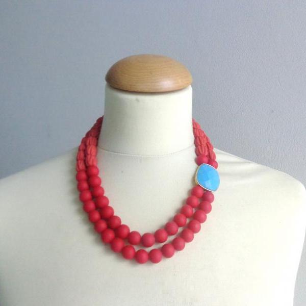 Red Double Layer Glass Matte Beads Handmade Statement Necklace
